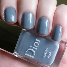 Dior Junon is a gorgeous blue-based grey creme with a their signature hidden shimmer in the new gel effect formula! Dior Nail Polish, Dior Nails, Nail Polish Colors, Nail Polishes, Nail Polish Designs, Nail Designs, Hair And Nails, My Nails, Beauty And The Best