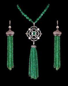 ANTIQUE LOOK 4.90CT ROSE CUT DIAMOND & Emerald Tassel Earrings Set