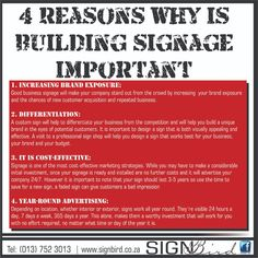 4 Reasons why building signage is important: - Increasing Brand Exposure - Differentiation - It is Cost-effective - Year round advertising www.signbird.co.za #signbird #signage