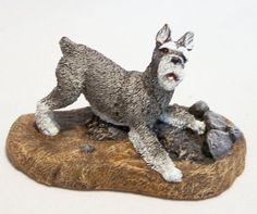 Vintage 1979 Miniature or Standard Schnauzer dog figurine, signed Marsha Richardson Rump up, in playful position Hand painted cold cast bronze Cast by Aus Ben North Carolina, Kennel Collection 3 3/8 inches long x 2 1/4 inches high Good condition, gently owned, no chips, retains all of his paint Ships wrapped in bubble wrap and cardboard  International buyers welcome, shipping is automatically combined, overcharges are refunded Priority shipping options are offered 72716  Credit cards and…