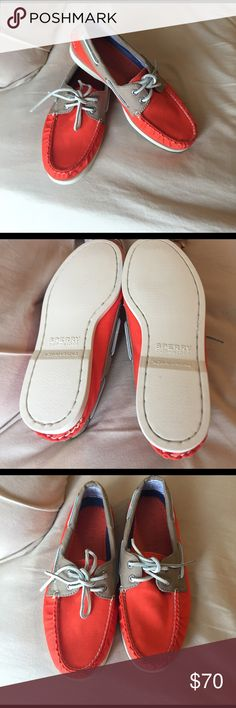 Orange and tan sperry top siders Never worn brand new without tags orange sperry top siders Sperry Top-Sider Shoes Flats & Loafers