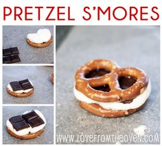 Pretzel S'mores - sweet and salty = yummy! Just Desserts, Delicious Desserts, Dessert Recipes, Yummy Food, Comida Diy, Yummy Treats, Sweet Treats, Sweet And Salty, So Little Time