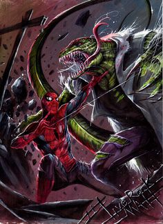 Spider-Man Vs The Lizard by Francesco Mattina - Marvel Universe Marvel Villains, Marvel Comics Art, Marvel Vs, Marvel Heroes, Comic Book Heroes, Comic Books, Spiderman Art, Amazing Spiderman, Spiderman Suits