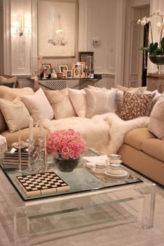 Feminine Living Room Design with Acrylic Coffee Table