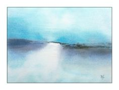 Original watercolor painting by JP Wisniewski, imagined seascape. You can find this painting for sale on ETSY. Watercolor Paintings Abstract, Abstract Landscape Painting, Watercolor Landscape, Landscape Paintings, Abstract Art, Arches Paper, Bleu Turquoise, Paintings For Sale, Images