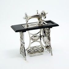 Vintage Silver Sewing Machine Miniature Dollhouse Furniture  for 1/12 Scale