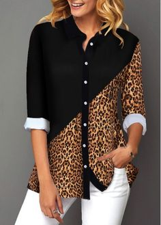 Womens Casual Tops Button Up Contrast Panel Leopard Print Shirt Stylish Tops For Girls, Trendy Tops For Women, Blouses For Women, Printed Blouse, Printed Shirts, Shirt Style, Button Up Shirts, Jeans, Sleeves