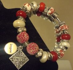 Beautiful white and red beads with faith and inspire charm one of my favorite.