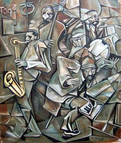 Monk and band: the cubism of this painting depicts very well the dynamic atmosphere of a jazz concert Jazz Painting, House Painting, Jazz Artists, Blues Artists, Music Artists, Jazz Poster, Art Music, Artist Art, Unique Art