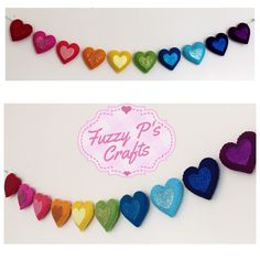 A personal favourite from my Etsy shop https://www.etsy.com/uk/listing/292870623/rainbow-glitter-heart-garland-nursery