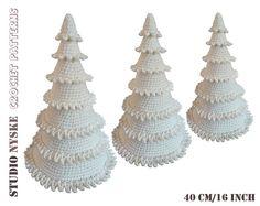 Witte kerstboom gehaakt, grote amigurumi kerstversiering PATROON, kerst landelijke stijl