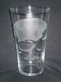 Nice Etched Skull Glass
