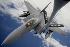 An Strike Eagle receives fuel from a Air Refueling Wing Stratotanker during an aerial refueling mission, Sept. over the Atlantic Ocean. The refueling was part of a training mission for both the Fighter Wing, RAF Lakenheath, and ARW. Military Jets, Military Aircraft, Military Life, Fighter Aircraft, Fighter Jets, Jas 39 Gripen, Us Air Force, Atlantic Ocean, Airplanes