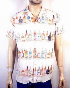981d07c2 Rockabilly Clothing, Rockabilly Outfits, Liquor Bottles, Novelty Print, Printed  Shirts, Men