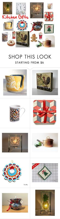 """Kitchen Gifts on Etsy"" by glowblocks ❤ liked on Polyvore featuring interior, interiors, interior design, home, home decor, interior decorating, Wilton and kitchen"
