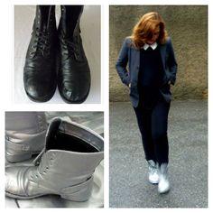 Botas metalizadas. Recicla unas viejas botas y conviértelas en unas de tendencia. www.quenotecueste.blogspot.com