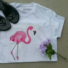 Chic Watercolor Flamingo Top Hand drawn/painted  ✔Heat transfered at 400 degrees  ✔V necks, tank tops, crew necks, sweatshirts  ✔100% cotton or mostly cotton  ✔Will not wash off or fade Thanks for stopping by Will make a separate listing for you! Underground Apparel  Tops Tees - Short Sleeve