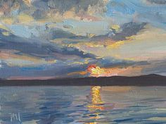 Sunset over Yarmouth, ME A Daily painting by Julian Merrow-Smith
