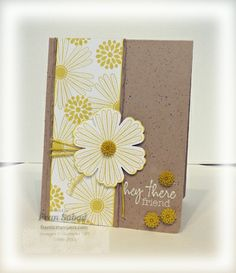 stampersblog-Stamp Sets - Mixed Bunch, Hey There (included in Paper Pumpkins!)  card stock - Crumb Cake, Whisper White  Ink - Summer Starfruit, Versamark  Etc - Blossoms punch, Dahlias, Baker's Twine, Spritzer with Early Espresso Stampin Write Marker, corner rounder, white embossing powder