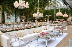 this is what i envision for reece and bradleys cocktail hour. this look continues the feeling of whimsy romance and glamour that the ceremony space created. plus i LOVE the chandeliers flowers ghost chairs and mirrored tables. Bella Wedding, Wedding Spot, French Wedding, Wedding Goals, Wedding Planning, Dream Wedding, Wedding Hall Decorations, Prom Decor, Yard Wedding