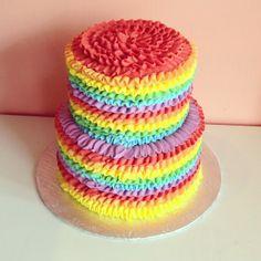 Rainbow Ruffle Cake by 2tarts Bakery / New Braunfels, Texas / www.2tarts.com