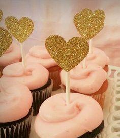 Gold Glitter Heart Cupake Toppers  www.etsy.com/shop/sweetpeapartydecor