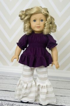 Kayla's Knit Ruffle Top and Jessica's Knit Pants 15 and 18 inch dolls | Sewing Pattern | YouCanMakeThis.com