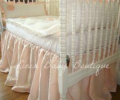 Bumperless Crib Bedding Baby Bedding Pink Linen by LinenBaby, $278.00
