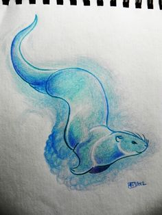 blue otter by wiltvanc.deviantart.com on @deviantART ... LOVE the clean lines- perfect. Maybe curved, from the side?