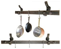 Hanging Pots And Pans On Wall long hanging pot rack / pan kitchen iron wall mounted bespoke