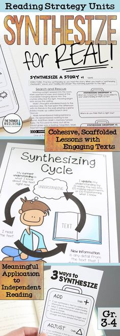 Teach the synthesizing reading strategy from the ground up! A two-week unit that establishing a clear base of understanding, uses scaffolded practice with engaging texts, and meaningful application to independent reading. For Grades 3-4. ($)