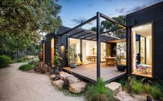 Recently, prefab homes have become an alternative or option for a new home because it is created in a short period of time and prefab offers a modern style Modular Home Designs, Building A Container Home, Container Buildings, Container House Plans, Beach Shack, Modern House Design, Small Modern House Exterior, Modern Tiny House, Deck Design