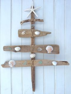 rustic driftwood christmas tree - seaglass shells starfish - natural beach house decor - beach christmas