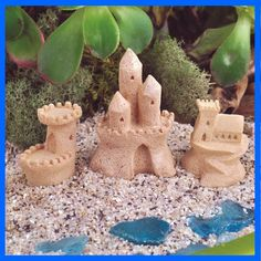 FAIRY GARDEN SANDCASTLES Absolutely adorable 3 piece set of miniature sand castles Wonderful decoration for your mermaid or beach themed fairy garden display an