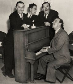 Stan Laurel, Buster Keaton, Oliver Hardy and Jimmy Durante