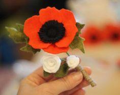 Custom Felt Flower Boutonniere to match your Custom Bouquet