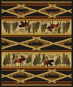 Wilderness Canoes Rustic Area Rug features canoes, bears, moose, and birch trees that is designed for your rustic decor. Tribal Wallpaper, Rustic Area Rugs, Wilderness, Rustic Decor, Quilts, Manhattan Project, Canoes, Projects, Collection