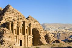"JORDAN - Petra. Dates back to 1200 B.C. and is known as the ""Pink City "" because of the rose-hued sandstone the palaces and tombs."