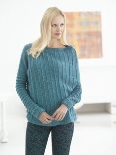 Knit - Asymmetric Ribbed Sweater - Size S-3X - Medium Worsted Weight [4] Yarn