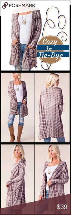 Cozy in Tie-Dye Cardi Cozy in Tie-Dye Cardi. Lightweight cardigan, very soft, subtle mocha hues, material has some stretch to it. Boutique Sweaters