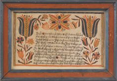 "Johann Conrad Gilbert (Southeastern Pennsylvania, active 1785-1820), Berks County, Pennsylvania ink and watercolor fraktur birth certificate for Catharina Bedy, b. 1799, 8"" x 12 3/4""."