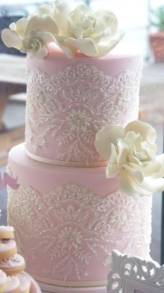 soft pink cake with white lace & roses