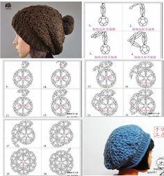 Tutorial y Patron Gorro Crochet