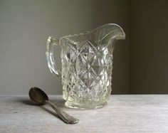 Clear Glass Creamer by Imperial Glass Co  Vintage by gazaboo