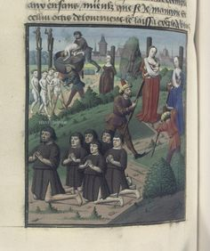"""""""The torture of the Jewish mothers"""", Billedet Hedder, from the Speculum historiale (BNF Fr. 50, fol. 158v). 15th century."""