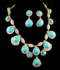 CINER-Simulated-Turquoise-Diamante-Pendants-Necklace-Clip-Earrings-Set