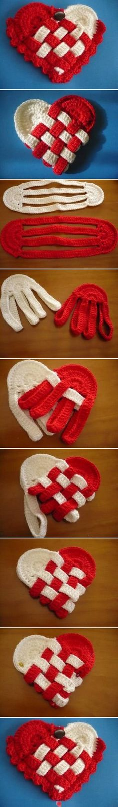 crochet Danish heart baskets