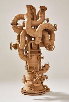 Sci-Fi Inspired Cardboard Sculptures by Greg Olijnyk Feature Fully Articulated Limbs and Working Motors (Colossal)