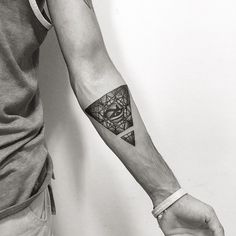 Eye Of Horus In Triangle Tattoo On Left Forearm