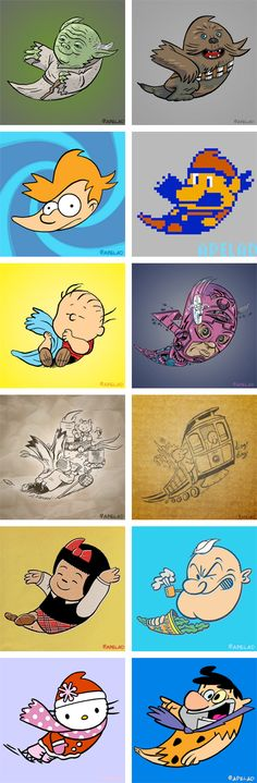 Reinterpreting the @Twitter logo with pop culture characters from Yoda to Fred Flinstone /by @apelad